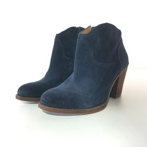 Lucky Brand Blue Suede Ankle Boots 7 M
